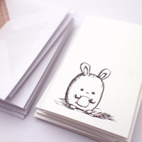 Mini bunny note cards - kawaii stationery set