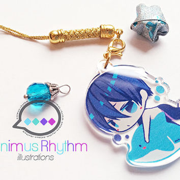 Crystal Clear Acrylic straps charm: Free! Haruka anime iwatobi swimming club