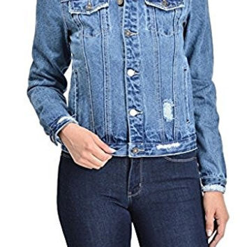 Kan Can Women's Distressed Classic Denim Jean Jacket