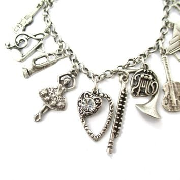 Violin Piano Treble Clef Ballerina Trumpet Shaped Charm Musical Themed Bracelet in Silver