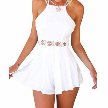 SUNNOW Sexy Halter Straps Jumpsuit Crossed Back Short Dress Playsuit