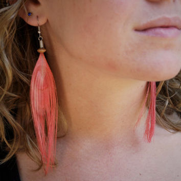 Frosting Pink Peacock Feather Earrings