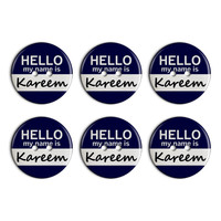 Kareem Hello My Name Is Plastic Resin Button Set of 6