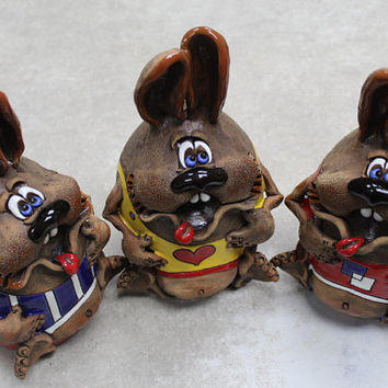 Rabbit Bank Ceramic, Eared Bunny. Handicraft. Gift,