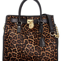 MICHAEL Michael Kors Handbag, Hamilton Leopard Haircalf Large North South Tote - MICHAEL Michael Kors - Handbags & Accessories - Macy's