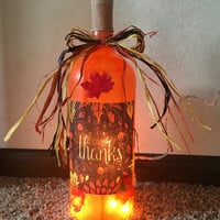 Give Thanks wine bottle lamp, Thanksgiving accent lamp, Fall home decor, Autumn decoration