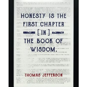 """Thomas Jefferson Honesty First Chapter in Wisdom Quote Art Print Red and Blue - 13x19"""""""