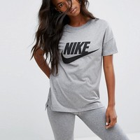 Nike Signal Short Sleeve T-Shirt In Grey With Large Logo at asos.com