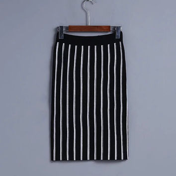 2016 Fashion Autumn Winter Women Striped Skirts High Waist Slit Casual Female Knitted Skirts CP8707-1122