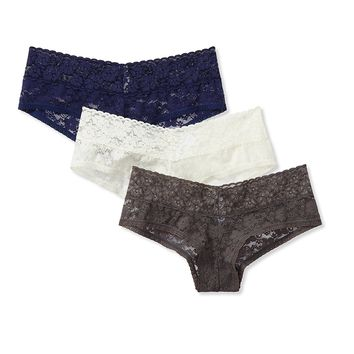 Mae Women's Lace Cheeky Hipster Panty, 3 pack