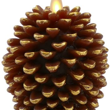 """Luminara 4"""" Flameless Pine Cone Candle - Brown Unscented"""