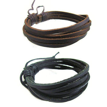 2 Pack Brown and Black Multi Layer Leather Bracelet Set
