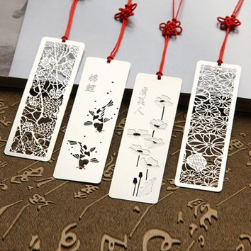 4 Styles Creative Fish flower Print Hollow Stainless Steel bookmarks Vintage Metal Bookmark For Books Gift 817