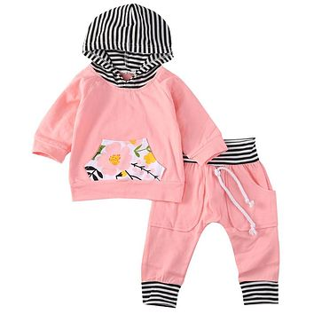 Hooded Sweatshirt Tops Pant Toddler Baby Girls  new arrival fashion Set Clothes Kid Outfit
