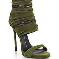 Giuseppe Zanotti - Suede Wraparound Zipper Sandals - Saks Fifth Avenue Mobile
