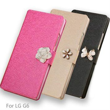 For LG G6 Case Cover Luxury PU Leather Case For LG G6 Simple flip Cover Stand For LG G 6 LGG6 5.7 inch Mobile Phone Shell