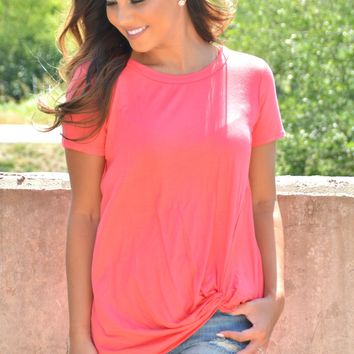 Make My Way Knot Top - Coral