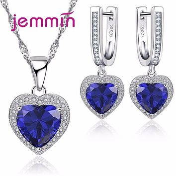 Jemmin Fashion Bridal Jewelry Sets Wedding Heart Necklace Earrings for Bride Party Costume Accessories Jewellery Sets