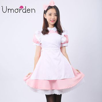 Pink Women Maid Maids Cosplay Clothing Alice in Wonderland Costume Costumes Fancy Lolita Dress