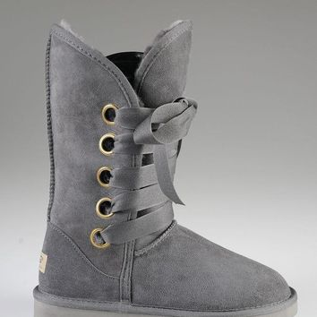 ESBON UGG 5818 Tall Lace-Up Women Fashion Casual Wool Winter Snow Boots Grey