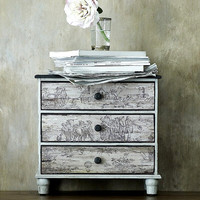 NEW Toile de Jouy three drawer small chest