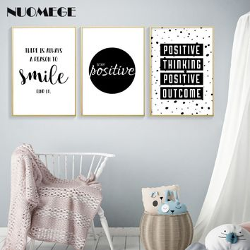English Inspirational Quotes Smile Poster Prints Black White Wall Art Canvas Painting Simple Style Decorative Picture Home Decor