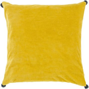 Velvet Poms Throw Pillow Yellow, Blue