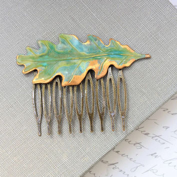 Leaf Hair Comb Large Oak Leaf Verdigris Green Patina Antique Gold Brass Rustic Woodland Wedding Hair Accessories Leaves Bridal Accessories