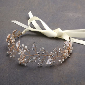 Gold Bridal Headband with Hand Painted Gold and Silver Leaves