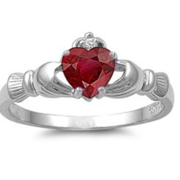 Sterling Silver Ruby CZ Irish Claddagh Ring Size 4-12