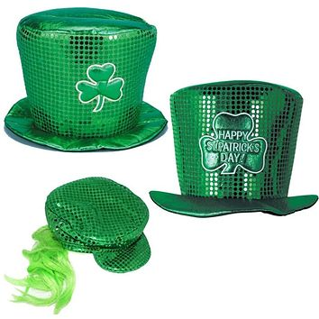 St Patrick's Day Green Sequin Top Hat Irish Costume Headdress Cowboy Cosplay Hat for Carnival Festival Party For Men Women