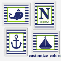 NAUTICAL Baby Boy Nursery Wall Art Navy Blue Green Whale Boat Personalize Art Boy Room Wall Decor Nautical Wall Decor Baby Boy Nursery Decor