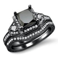 2.0ct Black Princess Cut Diamond Engagement Ring Bridal Set 14k Black Gold Rhodium Plating Over White Gold