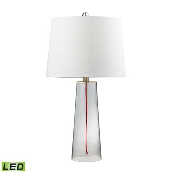 D138-LED Clear Glass LED Table Lamp With Red Cord