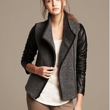 Leather Sleeve Moto Jacket