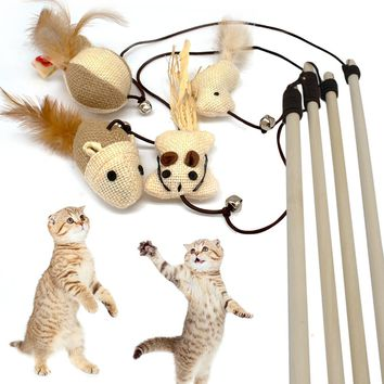 Funny Mouse Cat Toy Teaser Wand Feather Playing Cat Toys For Cats Kitten Plush Ball Interactive Scratch Stick Pet Cat Supplies