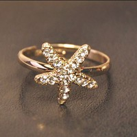 Starfish Rhinestone Ring (Adjustable)