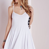 Missguided - Strappy Skater Dress White