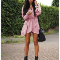 Pink Long Sleeve Tulip Waist Dress