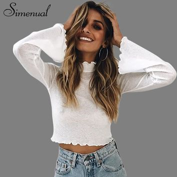 Simenual Half turtleneck t-shirts for women crop top hollow out ruffles flare sleeve female t-shirt see through slim sexy shirts