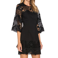 Alexis Rae Crochet Mini Dress in Black Crochet