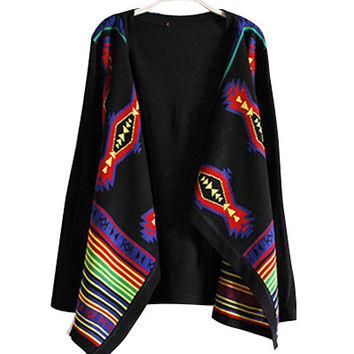Black Tribal And Stripe Patterns Knitted Cardigan