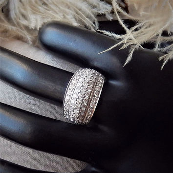 Sterling .925 Silver CZ Wide Domed Pave Band Ring Size 8.25