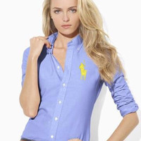 Best Quality!!! Embroidery big horse New Women's Shirts Long Sleeve Fashion Slim solid shirt V444