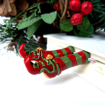 Christmas Elf Shoe Bookmark - Christmas Holiday Gift - Custom Made Gift Box and Gift Tag - Fun and Unique Bookmarks
