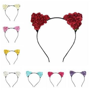Hot Sale Flower Cat Ears Hair Hoop Cute Cat Ear Hairband Cosplay Luxury Dress Masquerade Costume Headband Hair Band Accessories