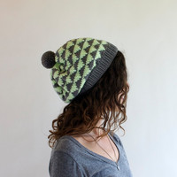 Women's Slouchy Hat  Geometric Triangles  Knit by SourpussKnits
