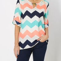 Chevron Gold Bar Popover Top | Blouses | rue21
