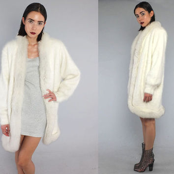 Vtg 80s White Angora Wool Fox Fur Avant Garde Sweater Jacket Coat M L