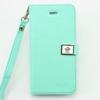 piaopiao Ailun leather wallet credit card flip Case cover for apple iphone 5C (mint green)